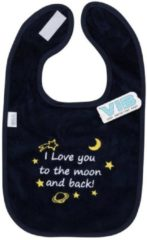 Blauwe VIB Slabber 'I Love you to the moon and back!' Navy