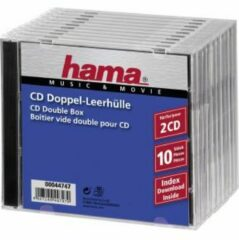 Hama Standard CD Double Jewel Case Pack of 10 (Transparent/Black)