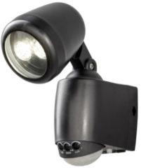 Konstsmide 7693 - Wandlamp - Prato PowerLED neerw spot - 14 cm - bewegingsmelder - op batterij - 2x 0.5W - warmwit 3000K - matzwart