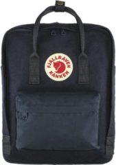 Donkerblauwe Fjällräven Kånken Re-Wool rugzak met 14 inch laptopvak