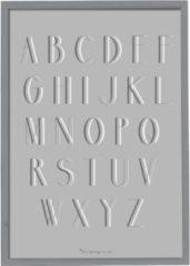Grijze Bloomingville - Tekstbord - Alfabet - Hout/Plexiglas - Grijs