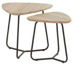 Grijze 4 Seasons Outdoor Axel Triangle koffietafel set van 2 - antraciet