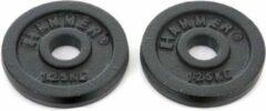 Zwarte Hammer Fitness Hammer Halterschijven Gietijzer - met grepen vanaf 5 kg - Hammer 2x 1,25 kg Halterschijven Gietijzer