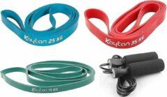 Rode Kaytan - 4-delige sportset - Elastische weerstandsbanden - Fitness elastiek 15 - 25 - 35 kg - Resistance bands - Touwtje springen - Springtouw - Thuis fitness