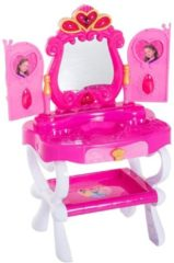 HOMCOM Schminktisch Kinder Frisiertisch mit Stuhl Fotorahmen Musik und Licht Rosa Kinder Frisiertisch Kosmetiktisch Kinderspielzeug