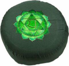 Gouden Yogi & Yogini naturals Meditatiekussen 4e chakra Anahata geborduurd (33x15 cm)