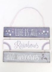 Paarse 3-delig wandbord 'Life is all rainbows and unicorns'