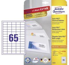 Avery-Zweckform 6121 Etiketten 38 x 21.2 mm Papier Wit 1950 stuk(s) Permanent Universele etiketten Inkt, Laser, Kopie 30 vel DIN A4
