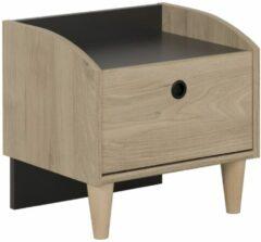 Antraciet-grijze Gamillo Furniture Nachtkastje Axel 42 cm hoog in kastanje met antracietgrijs