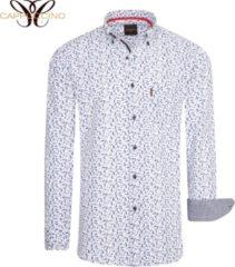 Cappuccino Italia - Heren Overhemden Regular Fit Overhemd Wit Leaves - Wit - Maat XL