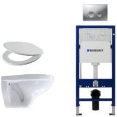 Witte Adema Classico toiletset bestaande uit inbouwreservoir en toiletpot, basic toiletzitting en Delta 21 bedieningsplaat mat chroom SW8443