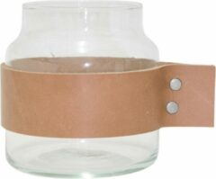 TAK Design Vaas Wrap Me - Incl. Lederen Band - Glas - Ø10 x 11 cm - Bruin