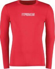 FitProWear Compressieshirt Lange Mouwen Heren - Rood - Maat M - Baselayer - Sportshirt - Fitness shirt - Slim Fit Sportshirt - Warmteshirt - Compressie - Stretch shirt - Ondershirt