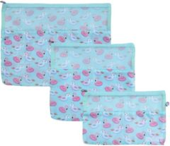 Sundaze koffer organizer - set 3 stuks - blauw/roze