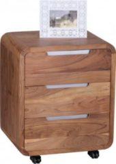 Wohnling Rollcontainer BOHA Akazie Massivholz Design Schubladenschrank für Schreibtisch Natur-Holz 3 Schubladen Landhaus