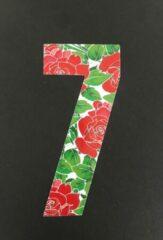 Rode Huisnummer sticker Rozen 7, Rozen sticker nr. 7, huisnummer cijfers - afvalbak nummers- kliko cijfer zeven- container nummers- coverart- plakcijfers- rozen huisnummer- brievenbus nummers, CoverArt