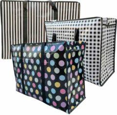 Zwarte MixMamas Big Shopper / Opbergtas / Waszak XL Modern - 70 x 50 cm - Set van 3