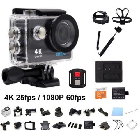 Afbeelding van Zwarte EKEN H9R 4K WiFi Action Cam met Afstandsbediening Complete Set | Lader + Extra Batterij | 32GB MicroSD Kaart | Selfie Stick | Hoofdband + Borstband + Polsband