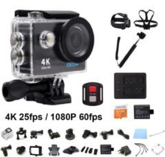 Zwarte EKEN H9R 4K WiFi Action Cam met Afstandsbediening Complete Set | Lader + Extra Batterij | 32GB MicroSD Kaart | Selfie Stick | Hoofdband + Borstband + Polsband