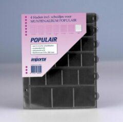 Transparante Importa POPULAIR muntbladen incl. schuifjes, 4 stuks mix-vaks met zwarte schutbladen, geschikt voor 120 munten
