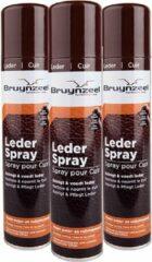Bruine Bruynzeel 3x leder spray reinigt & voedt leder 3x 300ML