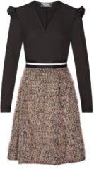 Elegantes Kleid NINA mit extravaganter Rockpartie Nicowa BLACK / CARAMEL