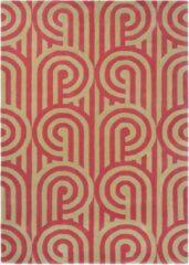 Florence Broadhurst - Turnabouts claret 39200 Vloerkleed - 200x280 cm - Rechthoekig - Laagpolig Tapijt - Klassiek, Retro - Goud, Rood