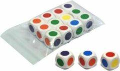 HOT Games 6 grote kleurendobbelstenen 30mm 6-zijdig wit
