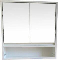 4Goodz MDF Spiegelkast met 2 spiegeldeuren met legplank en open plank - Wit