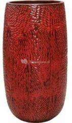 Donkerrode Ter Steege Hoge Pot Marly Deep Red ronde rode bloempot voor binnen en buiten 36x63 cm