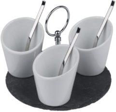 Witte Alpina Kitchen & Home Alpina serveerset - 3 bakjes, 3 lepels op leisteen plateau - 7-delig - Ø 15 cm