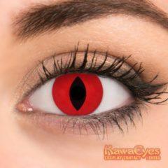 KawaEyes Demon Fire partylenzen carnaval carnavalskleding - incl. lenzendoosje - kleurlenzen - crazy lenzen - jaarlenzen - rood - feest - Halloween