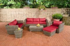 CLP Gartengarnitur MANDAL grau-meliert aus Polyrattan (6 Sitzplätze: 3-2-1) Premiumqualität (5 mm Rund-Rattan) inkl. Polstern & Kissen