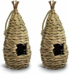 Bruine Merkloos / Sans marque 2x Nestbuidels vogelhuisjes gevlochten 16 cm - Nestgelegenheid rustplaats voor kleine vogels