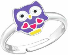WeLoveSilver Ring meisje | Zilveren ring met paars uiltje