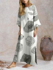 Newchic Split Wood Grain Print Long Sleeve Plus Size Dress
