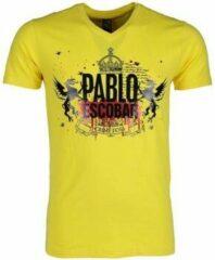 Gele T-shirt Korte Mouw Mascherano T-shirt - Pablo Escobar Crime Boss