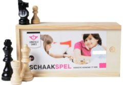 Zwarte Engelhart Longfield Games Schaakstukken in kistje 77 mm, essenhout