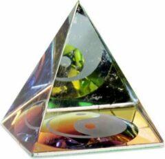 Transparante Yogi & Yogini naturals Kristal Piramide Yin Yang (6x6x6 cm)