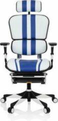 Hjh OFFICE Ergohuman Elite - Racing directiestoel/bureaustoel - Wit / Blauw - Leder