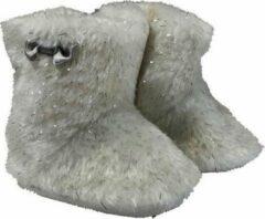 Beige La Petite Couronne Babylaarzen Yeti Klittenband Wit/zilver Maat 18/19
