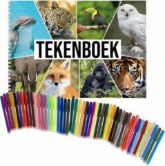 Witte Bellatio Decorations Schetsboek Dieren liefhebbers A4 50 paginas met 50 viltstiften - Tekenboeken cadeau voor kinderen