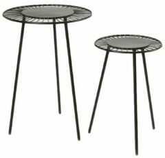 Cozy Ibiza - Set metalen ronde bijzettafels zwart