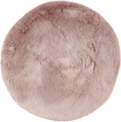 Decor24-OB Extra zacht effen vloerkleed Samba - Rond - Roze - O 80 cm