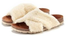 Naturelkleurige LASCANA slippers van leer met kurkvoetbed
