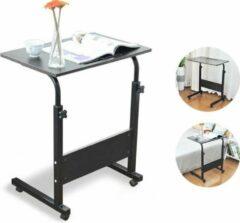 HN® Laptoptafel Zwart 60x40x71x91cm | Tafel op wielen in Hoogte Verstelbaar | Leestafel op wieltjes | Bijzettafel | Notebook Standaard | Bijzettafel voor Bed Bank