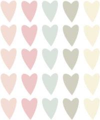 LM Baby Art Gekleurde hartjes muurstickers - 25 stuks - 5x4cm