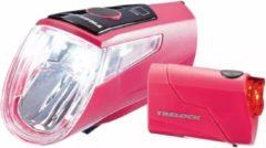 Rode Trelock Fietslicht Set - Voor- en Achterlicht - USB - Roze