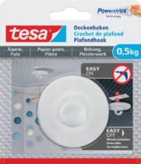 Tesa Zelfklevende Plafondhaak, draagkracht 0,5 kg, behang en pleisterwerk, wit, 1 haak en 3 strips