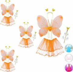 Oranje Relaxdays 4 x fee kostuum kinderen - vlindervleugels - kinderkostuum - toverstaf – diadeem